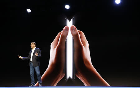 Justin Denison, Samsung Electronics senior vice president of Mobile Product Marketing, speaks during the unveiling of Samsung's new foldable screen smart phone, during the Samsung Developers Conference in San Francisco