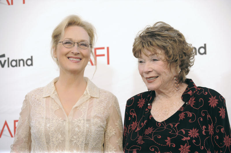 Meryl Streep, left, and Shirley MacLaine arrive at the AFI Life Achievement Award Honoring Shirley MacLaine at Sony Studios on Thursday, June 7, 2012 in Culver City, Calif. The AFI Lifetime Achievement Honoring Shirley MacLaine airs on June 24, 2012 at 9 p.m. on TV Land. (Photo by Jordan Strauss/Invision/AP)
