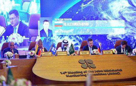 Russian Energy Minister Alexander Novak speaks during the OPEC 14th Meeting of the Joint Ministerial Monitoring Committee in Jeddah, Saudi Arabia, May 19, 2019.  REUTERS/Waleed Ali