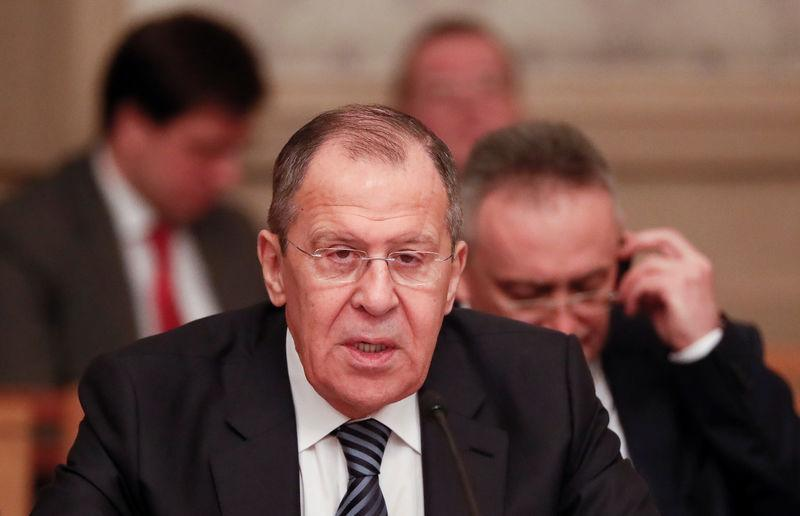 Russia's Foreign Minister Lavrov attends a meeting with Arab League's officials in Moscow