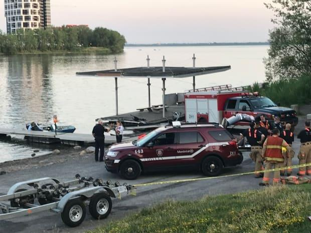 Montreal police are searching for a man who fell out of the boat he was in with two other people on Saturday evening. (Sudha Krishnan/CBC - image credit)