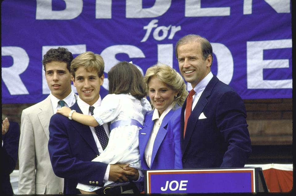 Joe Biden, standing with his family after announcing his candidacy for the 1988 Democratic presidential nomination