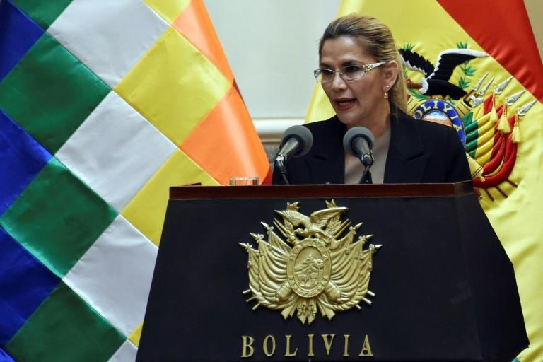 Bolivia's interim president Jeanine Anez speaks during a ceremony to swear-in her new cabinet after a government reshuffle in January 2020