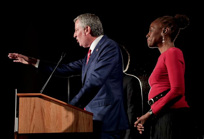 Bill de Blasio with his his wife, Chirlane McCray, at an election-night victory gathering.  (Photo: Julie Jacobson/AP)