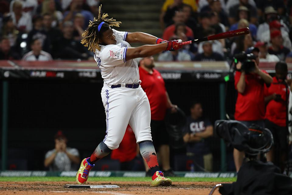 CLEVELAND, OHIO - JULY 08: Vladimir Guerrero Jr. of the Toronto Blue Jays competes in the T-Mobile Home Run Derby at Progressive Field on July 08, 2019 in Cleveland, Ohio. (Photo by Gregory Shamus/Getty Images)