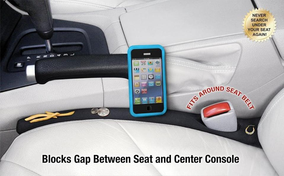 <p>This helpful <span>Drop Stop The Original Patented Car Seat Gap Filler</span> ($25) will help you avoid losing your phone down the side of your car seat.</p>