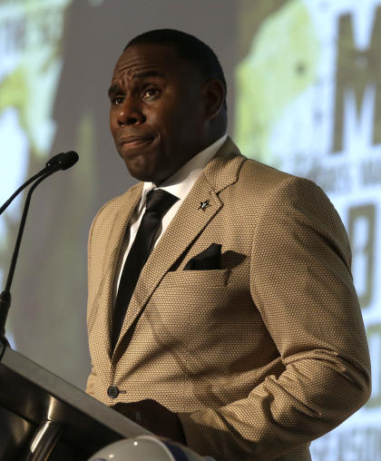 Vanderbilt coach, Derek Mason, speaks to the media at the Southeastern Conference NCAA college football media days, Monday, July 13, 2015, in Hoover, Ala. (AP Photo/Butch Dill)