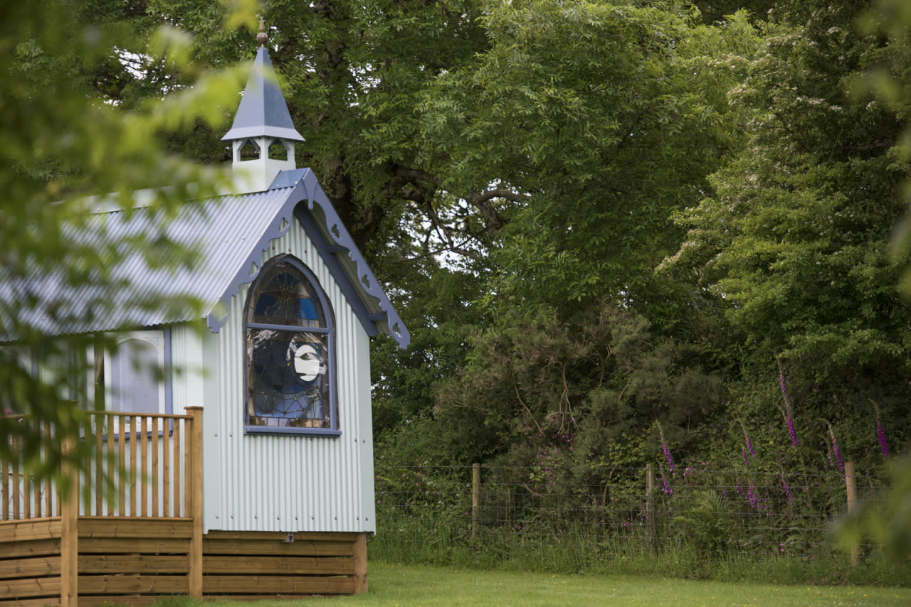 "<p>This beautiful mock 19th-century church is glamping at its finest. Made from corrugated tin, <a href=""http://classicglamping.co.uk/glamping-site/3211/the-tabernacle-at-frieda-and-the-moon"">The Tabernacle</a> features a bespoke stained glass window and its very own bell tower. Inside, opulent botanical wallpaper is wrapped around the bolthole-for-two, there's an en suite shower room with a heated towel rail, while underfloor heating and a wood-burning stove will keep you cosy. You also get your own private deck with a hot tub - an ideal spot from which to enjoy the country views. From £399 per week. Sleeps two.</p>"