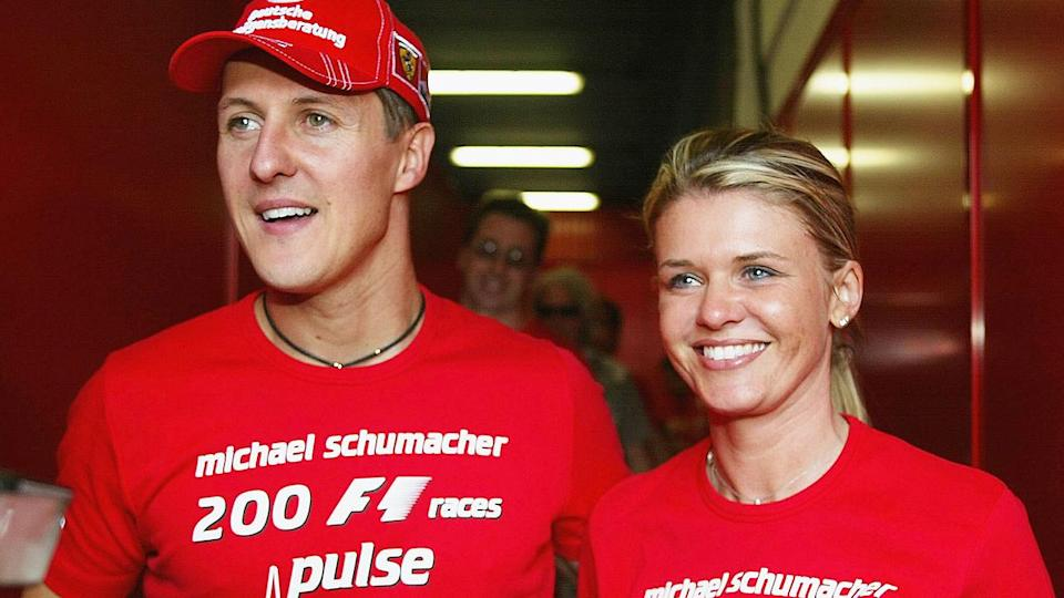 Michael Schumacher and wife Corrina in 2004. (Photo by Getty Images)