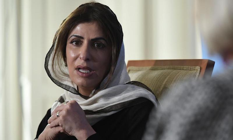 An image of Saudi Princess Basmah Bint Saud Bin Abdulaziz, an outspoken advocate of reform, taking part in a discussion on the role of women at the Middle East Institute in Washington DC on 12 April 2017.