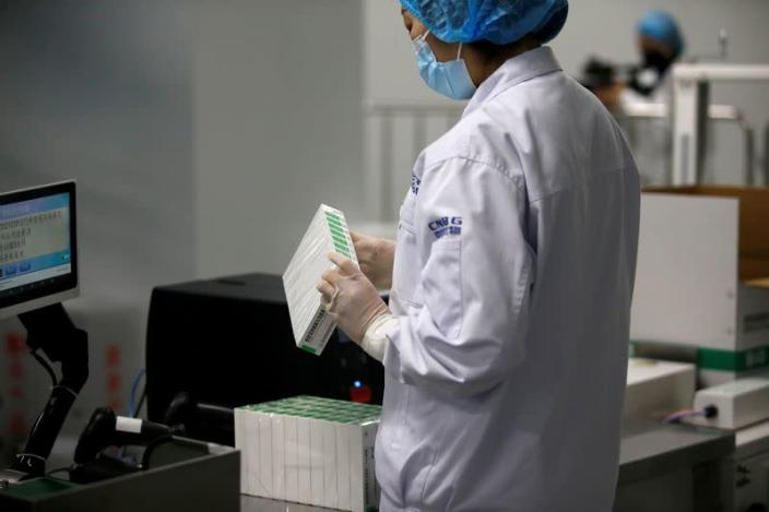 FILE PHOTO: Government-organised visit to the production line of COVID-19 vaccine by Beijing Institute of Biological Products of Sinopharm's CNBG