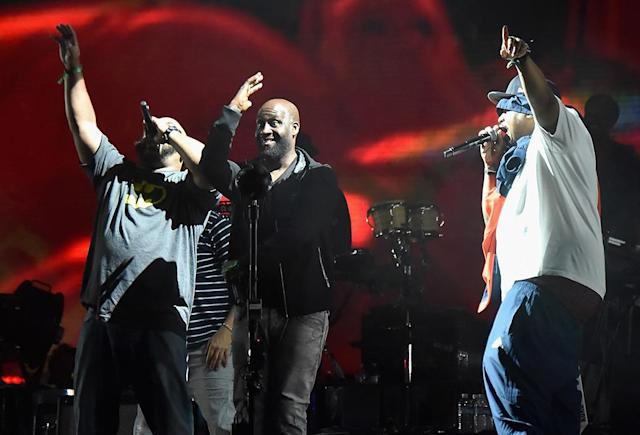 <p>Posdnuos (C) and Dave (R) of De La Soul perform with Gorillaz on Downtown Stage during day 3 of the 2017 Life Is Beautiful Festival on September 24, 2017 in Las Vegas, Nevada. (Photo: Jeff Kravitz/FilmMagic ) </p>
