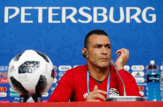Soccer Football - World Cup - Egypt Press Conference - Saint Petersburg Stadium, Saint Petersburg, Russia - June 18, 2018 Egypt's Essam El-Hadary during the press conference REUTERS/Anton Vaganov