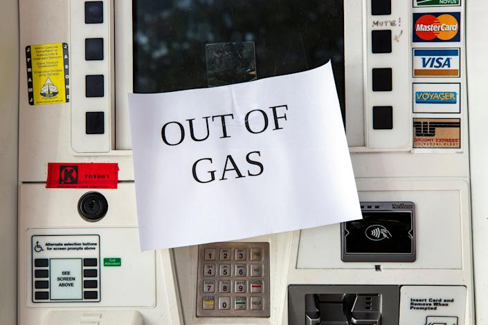 The pumps at the Shell gas station on Western Boulevard featured 'out of gas' signs as people prepared to ride out Hurricane Florence on Tuesday in Raleigh, North Carolina.