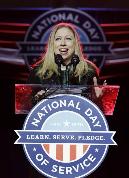 National Day of Service Honorary Chair, Chelsea Clinton speaks during the opening ceremony for the National Day of Service, part of the 57th Presidential Inaugural festivities, Saturday, Jan. 19, 2013, in Washington. (AP Photo/Steve Helber)