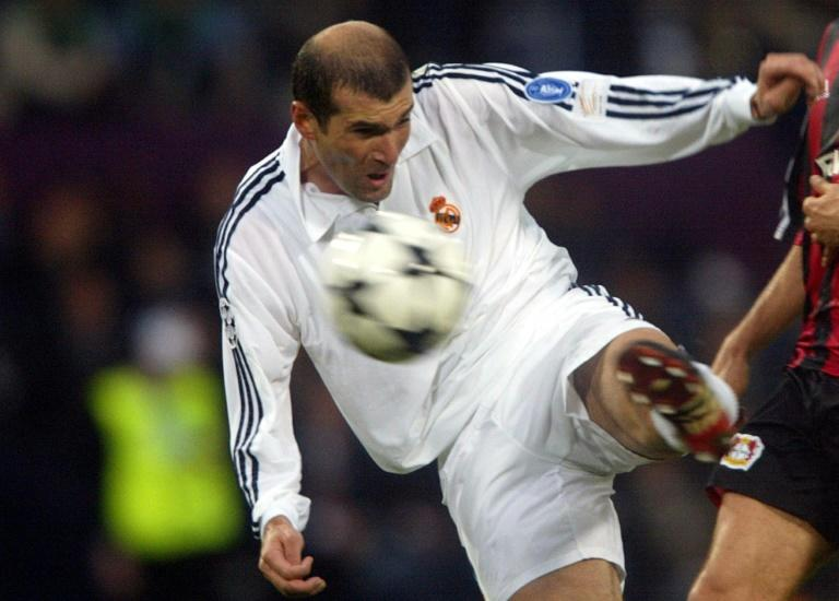 Real Madrid's Zinedine Zidane shoots to score during the Champions League final against Bayern Leverkusen in May 2002 in Glasgow