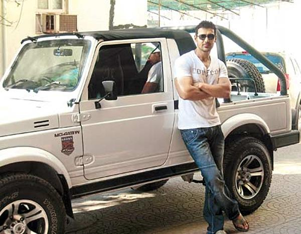 <strong>John Abraham- Maruti Gypsy</strong> In the past the Gypsy has been the favourite for many including our Indian army for its ruggedness and fit for purpose demeanour. John also loves his and drives it regularly. He has the open-top Gypsy which is even cooler.