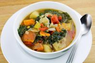 """<p>Need a dish that's delicious, healthy and nutritious? Try this sweet potato and kale soup. For a vegetarian version, replace the chicken broth with vegetable broth. And if you have extra sweet potatoes, here are <a href=""""https://www.thedailymeal.com/cook/how-to-bake-sweet-potatoes?referrer=yahoo&category=beauty_food&include_utm=1&utm_medium=referral&utm_source=yahoo&utm_campaign=feed"""" rel=""""nofollow noopener"""" target=""""_blank"""" data-ylk=""""slk:different ways to bake them."""" class=""""link rapid-noclick-resp"""">different ways to bake them.</a></p> <p><a href=""""https://www.thedailymeal.com/recipes/sweet-potato-kale-soup?referrer=yahoo&category=beauty_food&include_utm=1&utm_medium=referral&utm_source=yahoo&utm_campaign=feed"""" rel=""""nofollow noopener"""" target=""""_blank"""" data-ylk=""""slk:For the Sweet Potato Kale Soup recipe, click here."""" class=""""link rapid-noclick-resp"""">For the Sweet Potato Kale Soup recipe, click here.</a></p>"""