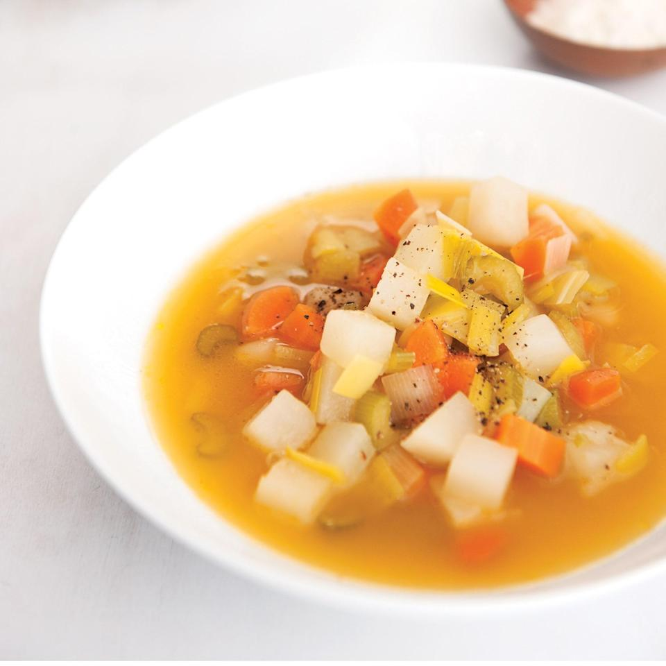 """Turnips add comforting sweetness to this <a href=""""https://www.epicurious.com/recipes-menus/cozy-soups-for-your-warming-pleasure-gallery?mbid=synd_yahoo_rss"""" rel=""""nofollow noopener"""" target=""""_blank"""" data-ylk=""""slk:easy soup"""" class=""""link rapid-noclick-resp"""">easy soup</a>. If you'd prefer to keep it vegetarian, swap out the chicken stock for water or vegetable broth. <a href=""""https://www.epicurious.com/recipes/food/views/leek-and-cannellini-bean-soup?mbid=synd_yahoo_rss"""" rel=""""nofollow noopener"""" target=""""_blank"""" data-ylk=""""slk:See recipe."""" class=""""link rapid-noclick-resp"""">See recipe.</a>"""