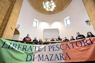 Family members of the 18 seized fishermen have protested in Mazara city hall, calling for their release