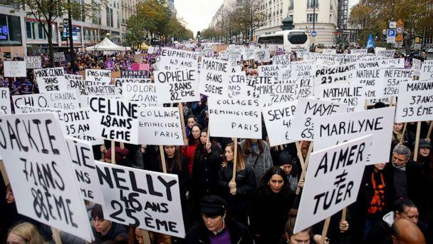 PHOTO: Women hold placards with the names of the women killed by their husband since the beginning of the year, as they march against domestic violence, in Paris, Nov, 23, 2019. (Thibault Camus/AP)