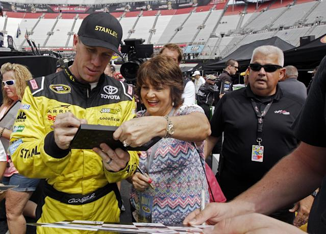 "<a class=""link rapid-noclick-resp"" href=""/nascar/sprint/drivers/711/"" data-ylk=""slk:Carl Edwards"">Carl Edwards</a> got his fifth pole of the season at Bristol on Friday (AP)."