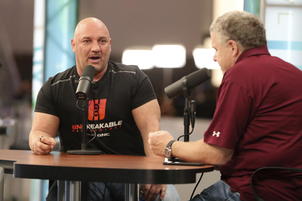 NFL insider Jay Glazer is interviewed by Peter King on Radio Row at the Super Bowl, Wednesday, Jan. 29, 2020, in Miami Beach, Fla. (Gregory Payan/AP Images for NFL)