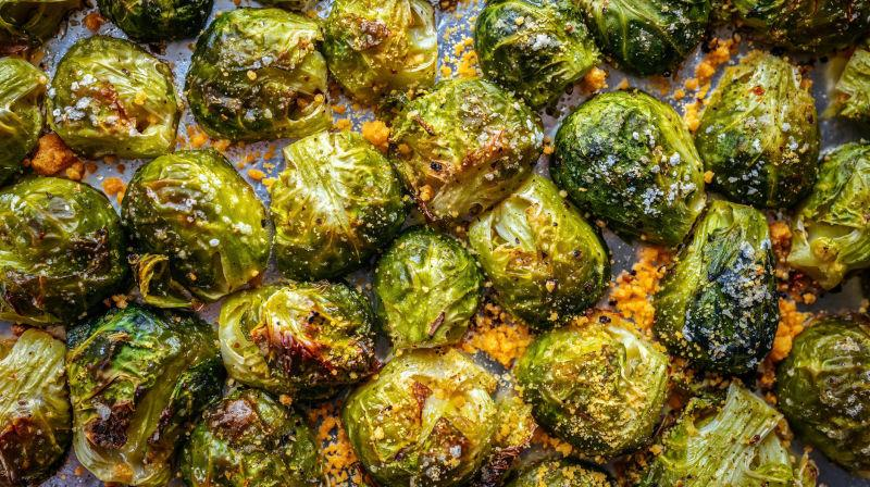 Roasted Brussels sprouts on a pan