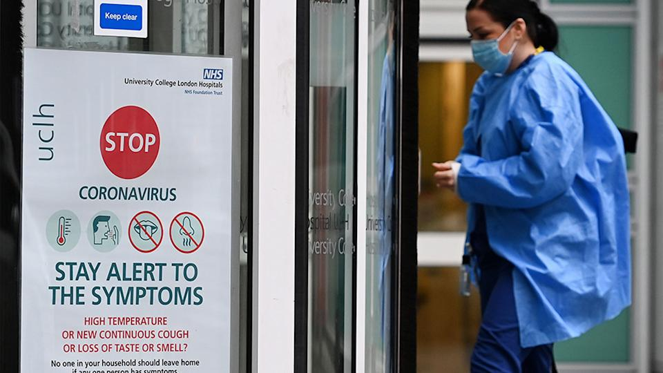 Coronavirus cases are continuing to surge across England with hospital admissions reaching new highs. Source: EPA via AAP
