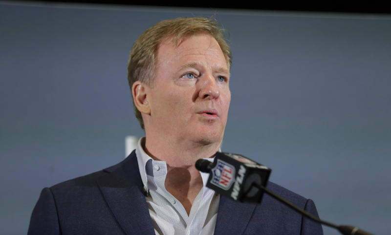 FILE - In this Feb. 3, 2020 file photo NFL Commissioner Roger Goodell speaks during a news conference in Miami. The NFL has set protocols for reopening team facilities and has told the 32 teams to have them in place by May 15. In a memo sent by Goodell and obtained Wednesday, May 6, 2020 by The Associated Press, several phases of the protocols were laid out. The first phase would involve a limited number of non-player personnel, initially 50 percent of the non-player employees (up to a total of 75) on any single day, being approved to be at the facility. But state or local regulations could require a lower number. (AP Photo/Brynn Anderson, file)