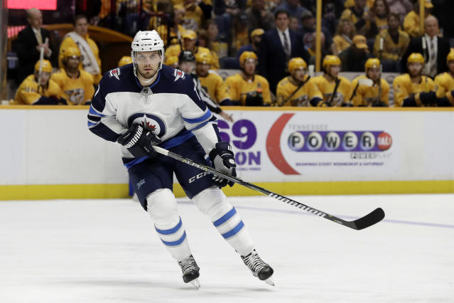 FILE - In this Dec. 20, 2017, file photo, Winnipeg Jets defenseman Ben Chiarot plays against the Nashville Predators in the first period of an NHL hockey game in Nashville, Tenn. The Canadiens began using the money they won't be paying Sebastian Aho by signing defenseman Ben Chiarot to a $10.5 million, three-year contract. (AP Photo/Mark Humphrey, File)