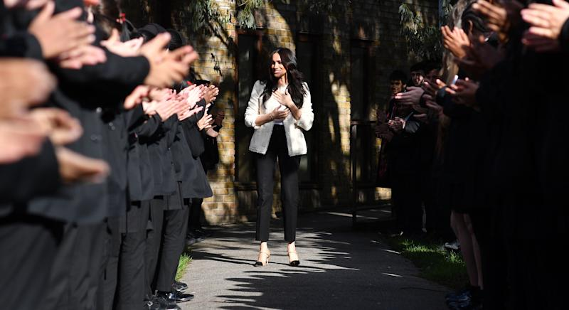 Meghan Markle has shared a behind-the-scenes video from her trip to a school to mark International Women's Day [Image: Getty]