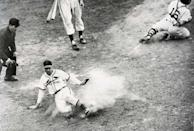 """<p><strong>October 15, 1946</strong>: It's Game 7 of the '46 World Series, the bottom of the eighth inning, and the Cardinals and Red Sox are all tied up at 3 a piece. The Redbirds' Enos """"Country"""" Slaughter singles, but is left waiting at first after the next two Cardinals strike out. With one last chance, Harry """"the Hat"""" Walker strokes the ball over shortstop into left centerfield, and Slaughter takes off with the crack of the bat. Sox shortstop Johnny Pesky catches the relay from outfield and sails the ball home. Running through the stop sign by his third-base coach in what becomes known as the """"Mad Dash Home,"""" Slaughter scores the game's winning run, giving St. Louis the world championship. """"Maybe if I had a better arm, I would have gotten him, but in my heart, I know I didn't hold the ball,"""" Pesky told Frommer.<br> </p>"""