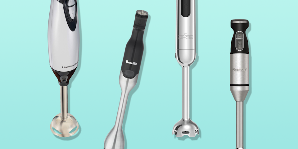 """<p>Immersion blenders are so versatile. Also called a hand blender, the handheld tool has a motor on one end and blades on the other. They can do big jobs like blending smoothies and <a href=""""https://www.goodhousekeeping.com/food-recipes/a28819083/instant-pot-butternut-squash-soup-recipe/"""" rel=""""nofollow noopener"""" target=""""_blank"""" data-ylk=""""slk:pureeing soups directly in the pot"""" class=""""link rapid-noclick-resp"""">pureeing soups directly in the pot</a> without having to transfer it to and from <a href=""""https://www.goodhousekeeping.com/appliances/blender-reviews/g4864/best-blender-reviews/"""" rel=""""nofollow noopener"""" target=""""_blank"""" data-ylk=""""slk:a blender"""" class=""""link rapid-noclick-resp"""">a blender</a>, and they can also tackle small jobs like whipping cream and making a dressing. </p><p>To find the best immersion blenders, the Good Housekeeping Institute's <a href=""""https://www.goodhousekeeping.com/institute/about-the-institute/a19748212/good-housekeeping-institute-product-reviews/"""" rel=""""nofollow noopener"""" target=""""_blank"""" data-ylk=""""slk:Kitchen Appliances and Technology Lab"""" class=""""link rapid-noclick-resp"""">Kitchen Appliances and Technology Lab</a> regularly evaluates a variety of top-rated models from well-known brands at a range of prices, looking for ones that are easy to assemble and comfortable to hold and operate. We bring them into our kitchens to compare how well they puree butternut squash soup, blend smoothies, crush ice, and whisk eggs. Our favorite ones (which we bought for ourselves and use almost daily!) are powerful enough to blend smoothies and soups effortlessly <em>and</em> quietly with an ergonomic and comfortable grip that won't tire hands. <strong>These are our top immersion blender picks, based on a combination of testing and in-home use</strong>:</p><ul><li><strong>Best Overall Immersion Blender</strong>: <a href=""""https://go.redirectingat.com?id=74968X1596630&url=https%3A%2F%2Fwww.williams-sonoma.com%2Fproducts%2Fbreville-control-grip-immersion-blender%2"""