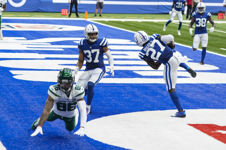 Indianapolis Colts cornerback Xavier Rhodes (27) intercept a pass intended for New York Jets receiver Lawrence Cager (86) in the first half of an NFL football game in Indianapolis, Sunday, Sept. 27, 2020. (AP Photo/Darron Cummings)
