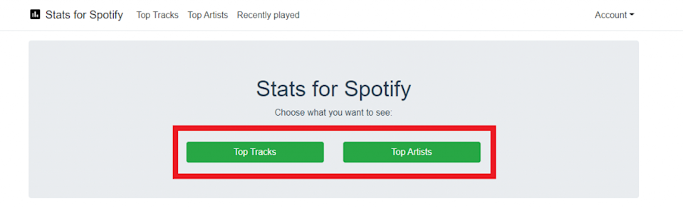Print do site Stats for Spotify