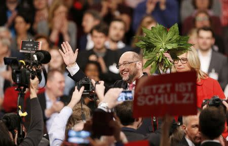 Schulz reacts after he was elected new Social Democratic Party (SPD) leader during an SPD party convention in Berlin