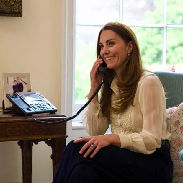 Kate wearing her Whistles blouse, thought to have been purchased in 2009