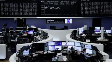 The German share price index, DAX board, is seen at the stock exchange in Frankfurt, Germany, February 14, 2018.    REUTERS/Staff/Remote