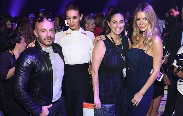 Megan and Jennifer are pictured with designer Alex Perry and Marie Claire general manager Jackie Frank.