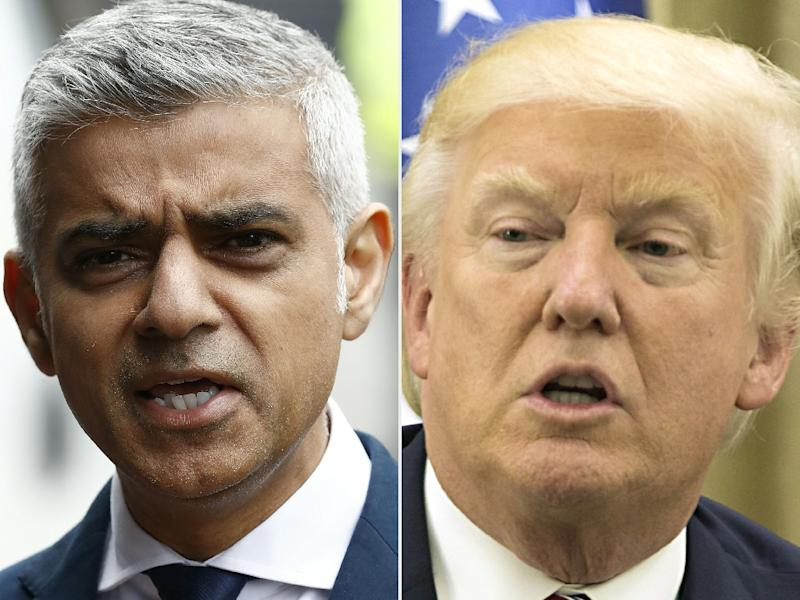 Combination of file pictures created on June 5, 2017 shows Mayor of London Sadiq Khan (L) and US President Donald Trump