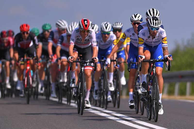 KRAKOW POLAND AUGUST 09 Mattia Cattaneo of Italy and Team Deceuninck QuickStep Peloton during the 77th Tour of Poland 2020 Stage 5 a 188km stage from Zakopane to Krakow TourdePologne tdp20 on August 09 2020 in Krakow Poland Photo by Luc ClaessenGetty Images
