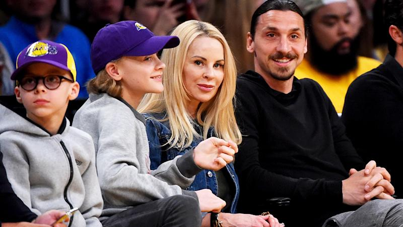 Zlatan Ibrahimovic, pictured here with wife Helena and their two sons in 2018.