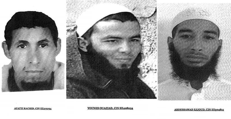 A combination of pictures made of images realesed by Morocco's Police on December 20, 2018 shows the three suspects in the grisly murder of two Scandinavian hikers whose bodies were found at a camp in Morocco's High Atlas mountains