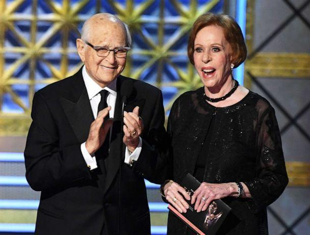 PHOTO: Norman Lear and Carol Burnett speak onstage during the 69th Annual Primetime Emmy Awards at Microsoft Theater on Sept. 17, 2017, in Los Angeles. (Kevin Winter/Getty Images, FILE)