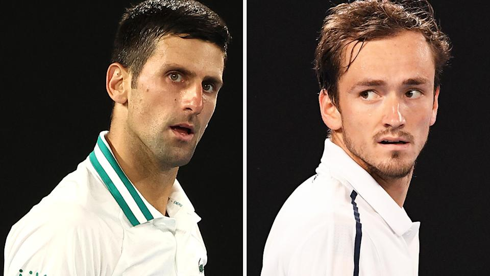 Novak Djokovoc and Daniil Medvedev haven't held anything back to start their final showdown at the 2021 Australian Open. Pictures: Getty Images