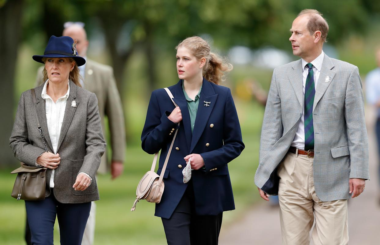 WINDSOR, UNITED KINGDOM - JULY 03: (EMBARGOED FOR PUBLICATION IN UK NEWSPAPERS UNTIL 24 HOURS AFTER CREATE DATE AND TIME) Sophie, Countess of Wessex, Lady Louise Windsor and Prince Edward, Earl of Wessex attend day 3 of the Royal Windsor Horse Show in Home Park, Windsor Castle on July 3, 2021 in Windsor, England. (Photo by Max Mumby/Indigo/Getty Images)