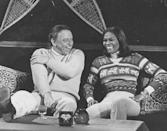 <p>Frank Sinatra and Dionne Warwick laugh together while vacationing at a ski resort in Lake Tahoe, California.</p><p>Other celebrity visitors this year: Wayne Newton, Sonny Bono, Cher.</p>
