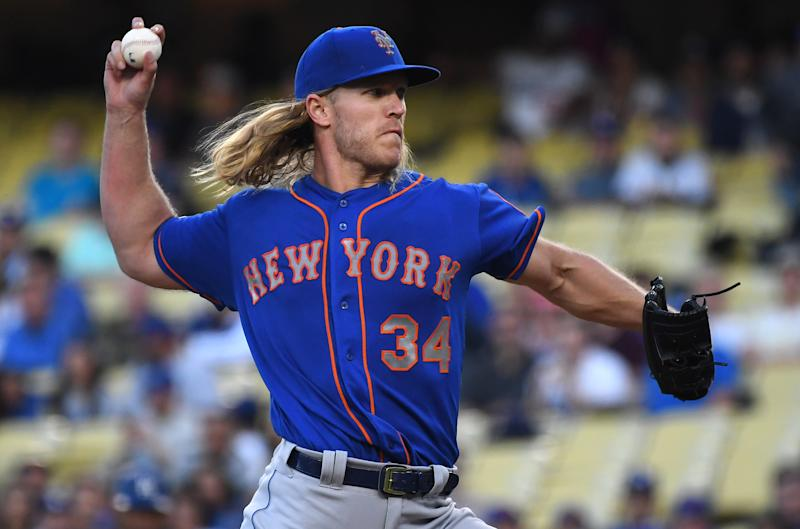 LOS ANGELES, CA - MAY 29: Noah Syndergaard #34 of the New York Mets pitches in the first inning of the game against the Los Angeles Dodgers at Dodger Stadium on May 29, 2019 in Los Angeles, California. (Photo by Jayne Kamin-Oncea/Getty Images)