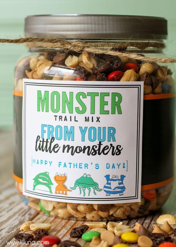 """<p>The kids will love making homemade trail mix for Dad.<br></p><p><strong><em>Get the tutorial at <a href=""""http://lilluna.com/monster-trail-mix-fathers-day-gift/"""" rel=""""nofollow noopener"""" target=""""_blank"""" data-ylk=""""slk:Lil' Luna"""" class=""""link rapid-noclick-resp"""">Lil' Luna</a>.</em></strong></p>"""